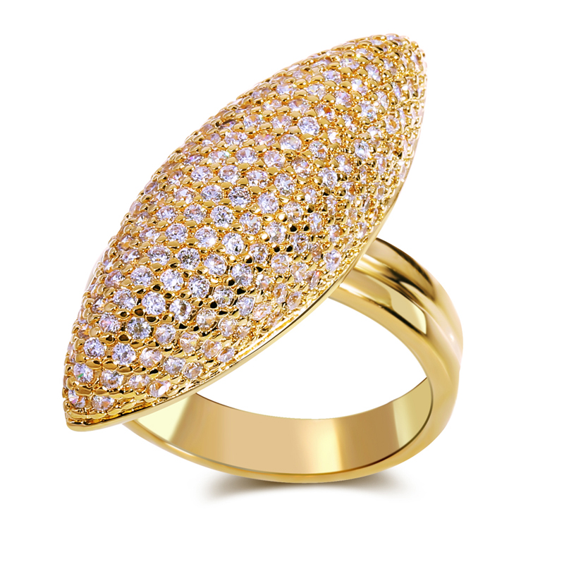 Top Popular Engagement Lady Rings Wholesale Price Luxury Wedding Gift Prong  Setting CZ Stone Gold /