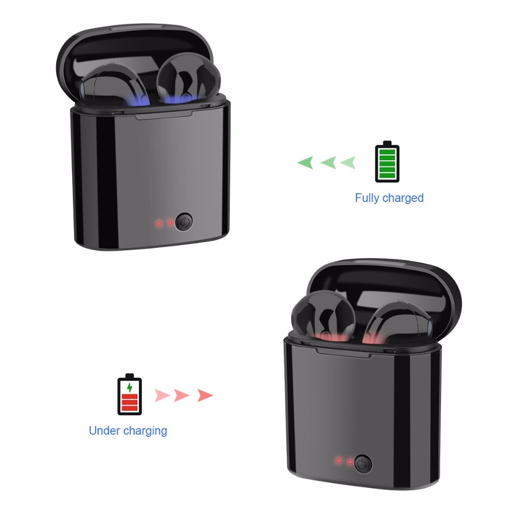 5pcs lot Free Shipping i7s Bluetooth Earbuds Wireless Headphones Headsets Stereo Earphones With Charging Box for