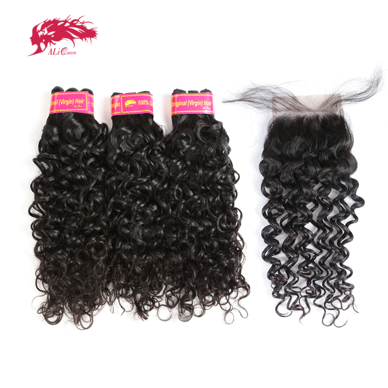 Ali Queen Human Hair Water Wave Bundles With Pre Plucked 4x4 Lace Closure Free Part Natural