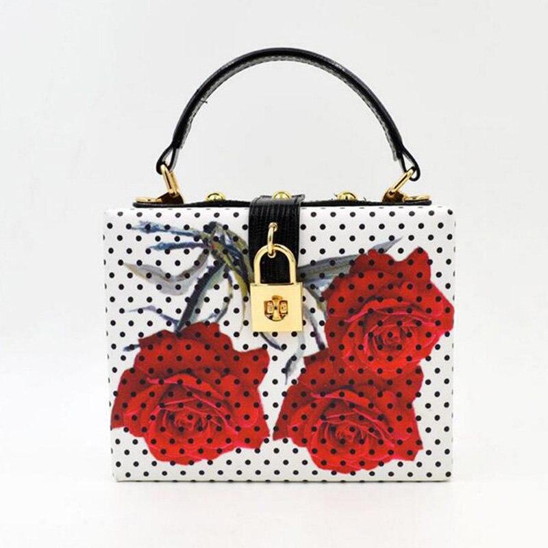 ФОТО New Leather Box Evening Clutch Bag Lock Flower Tote Women Dot Designer Handbag Crossbody Messenger Bag Wedding Party Purse Li604