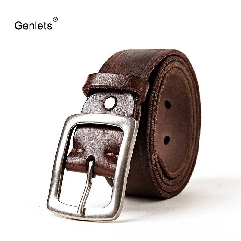 Super Quality Leather Belt Men Genuine Leather Belts For Men Vintage Buckle  Design  Cowhide Skin Winter Jean Strap Brown Color