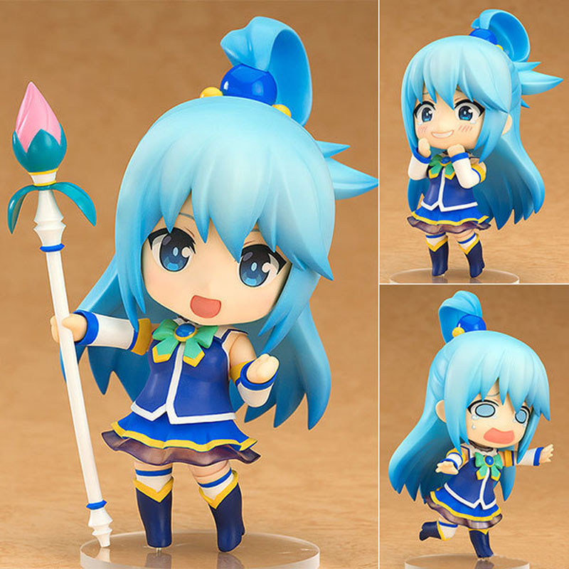 Free Shipping 4 Nendoroid Anime Kono Subarashii Sekai ni Shukufuku wo Aqua Boxed PVC Action Figure Model Doll Toys Gift #630 free shipping cute 4 nendoroid monokuma super dangan ronpa anime pvc acton figure model collection toy 313 mnfg057