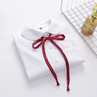 Cosplay Japanese Student Girls High School Uniform White Color Shirt Teens Full Sleeve Red Ribbon Tie