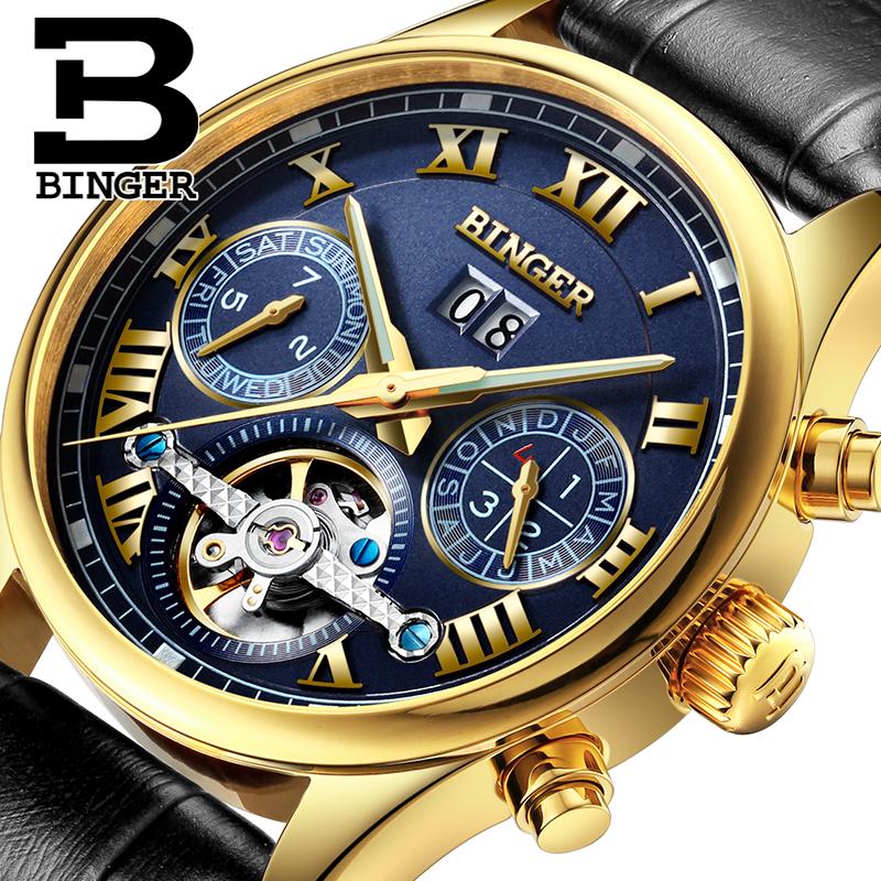 Prix pour Suisse top marque montres 2016 nouveau binger horloge hommes automatique montre mécanique bracelet en cuir or montres 3atm b-8602