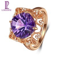Lohaspie 4.5 ct Natural Gemstone African Amethyst Solid 18K Rose Gold Wedding Rings For Women Fine Stone Diamond Jewelry NEW