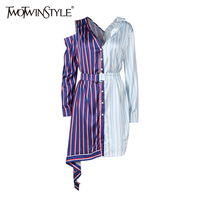 TWOTWINSTYLE Sexy Off Shoulder Mini Summer Dress Women Long Sleeve Patchwork Striped Lace Up Asymmetrical Shirt