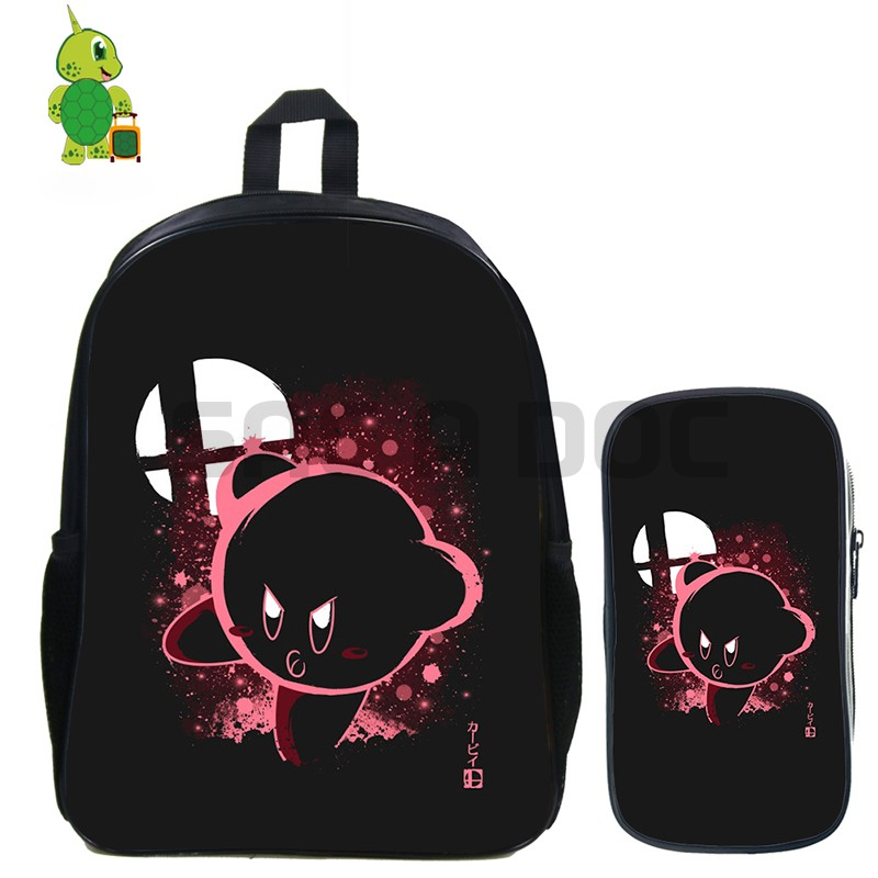 Super Smash Bros Kirby Ness Fluorescence Backpack 2 Pcs/set School Bag For Teenagers Students Book Bag Daily Laptop Backpack