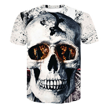 Casual Men's t shirt Slim Fit 3D skull Short Sleeve