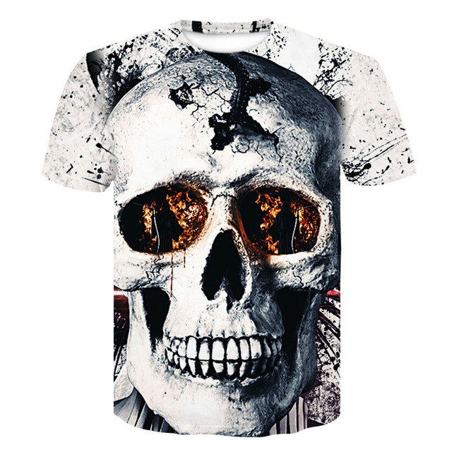 Casual 3D Skull T Shirt