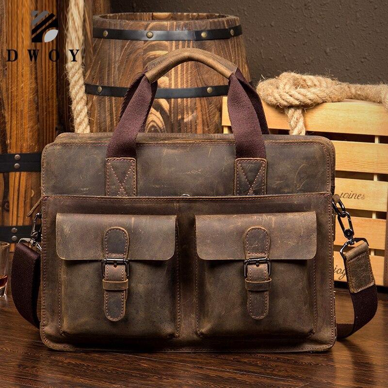 Vintage Crazy Horse Briefcases Men Genuine Leather Messenger Bags 14