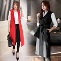 New Women Vest Sleeveless Outerwear Autumn Black/Red Double Breasted Long Veste Femme Chalecos Mujer Colete Feminino De Inverno