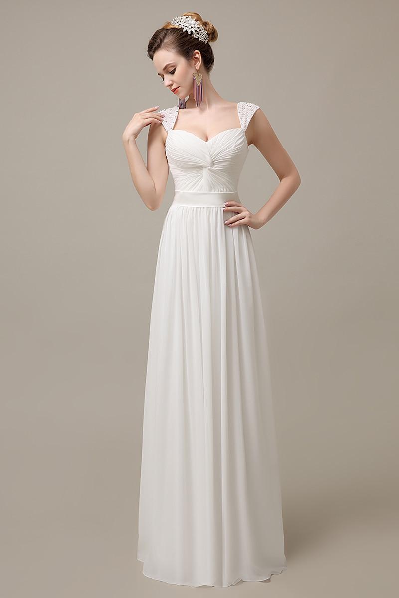 Simple Plus Size White Chiffon Long Dress