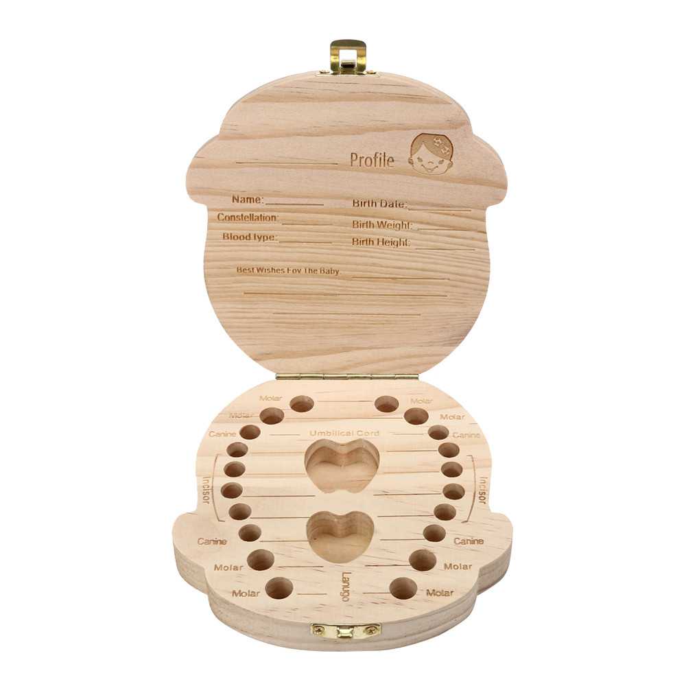 Freeship New  Baby Milk Teeth Save Wood Baby Tooth Box Organizer For  Kids Girl Deciduous Storage Box Gift Creative Dropship #5