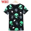 Harajuku Mujeres de La Camiseta Divertida 3D ET Extraterrestre Impreso Tops Tee Ocasional del verano de Manga Corta Chicas Camisetas De Cultivos Punky Calle Tops WXC