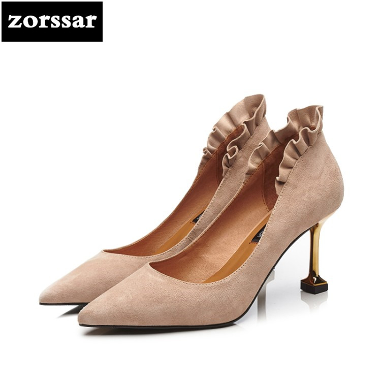 {Zorssar} 2018 New suede Thin Heels Shallow Women Single shoes Summer Shoes fashion Women Pointed toe High Heels pumps{Zorssar} 2018 New suede Thin Heels Shallow Women Single shoes Summer Shoes fashion Women Pointed toe High Heels pumps