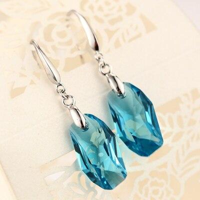 Long lady's 925 Silver Natural Blue Chanti International Pure Silver Dazzling ONYX LONG Drop Natural Stone EARRINGS