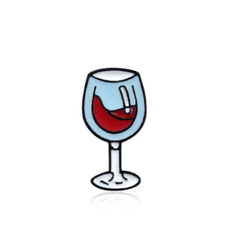 漫画のブローチのバッジ愛好家ピン赤ワインボトルガラスエナメルピンデニムジャケット襟バッジピンラペルピン王女の宝石ギフト
