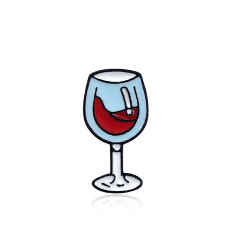 Kartun Bros Lencana Pecinta Pin Merah Anggur Botol Kaca Enamel Pin Denim Jaket Kerah Lencana Pin Kerah Pin Perhiasan Putri hadiah