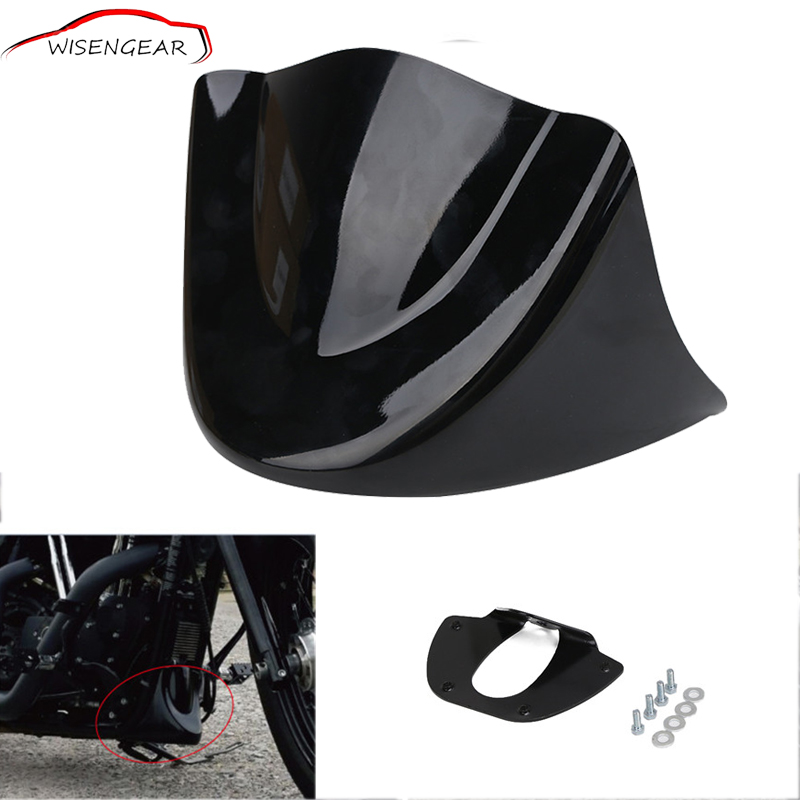 WISENGEAR Motorcycle Lower Front Chin Spoiler Air Dam Fairing Cover For Harley Dyna Fat Street Bob Low Rider Wide 2006-2017 C/5 motorcycle parts speedometer trim bezel ring bracelet bracket for harley davidson sporster 883 1200 dyna street bob low rider