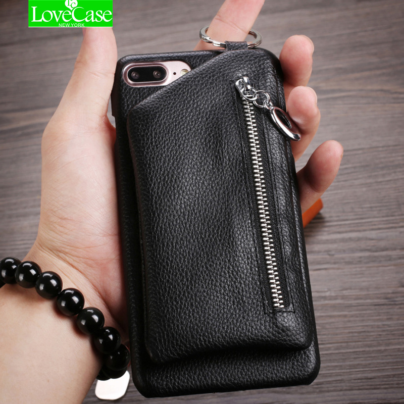 LoveCase 2017 Fashion genuine leather zipper wallet cover case for <font><b>iPhone</b></font> 7 7Plus 8 Plus top quality back cover case phone bag