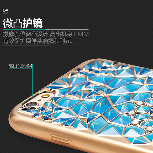 Diamonds Phone Cases Luxury blue gold rose Plating Case 3D Rugged Flower TPU soft Cover For Iphone 6 6S 4.7 / Plus SE 5 5S  Capa