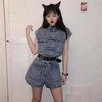 Chinese Style Jumpsuits Women Retro Buckle High Waist Sleeveless Denim Jumpsuits 2019 New Fashion Casual Street Playsuites Femme