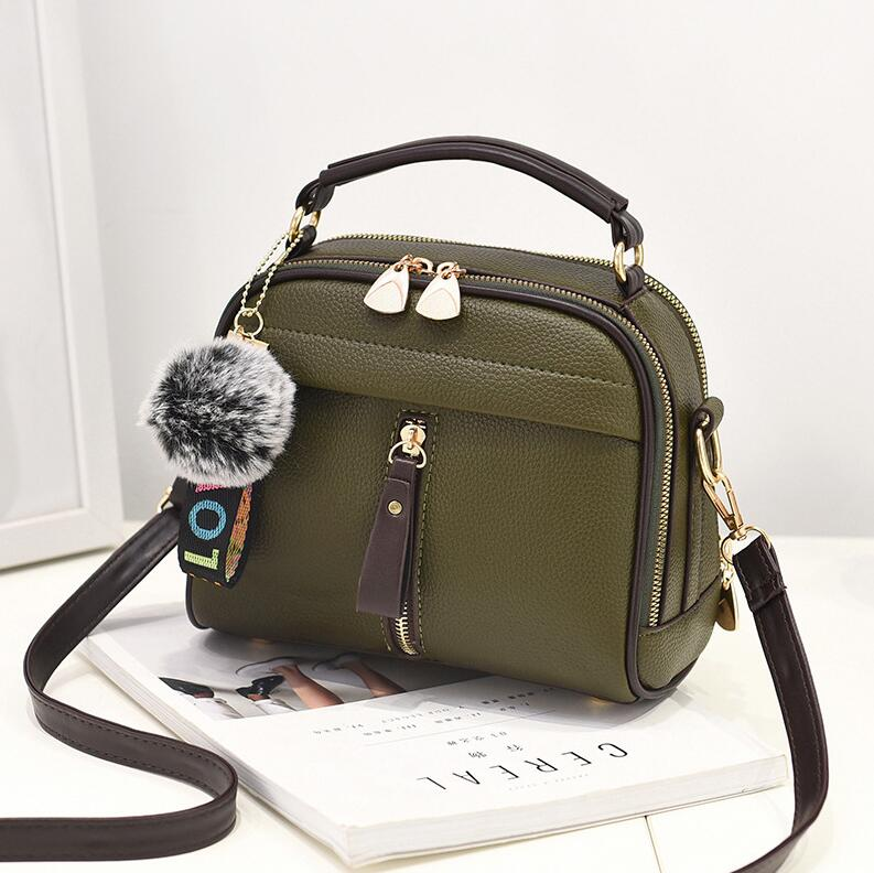 2020 Women Shoulder Bags Crossbody Bag For Women Handbag PU Leather Full Moon Candy Color Cute With Fur Ball shell shape bag