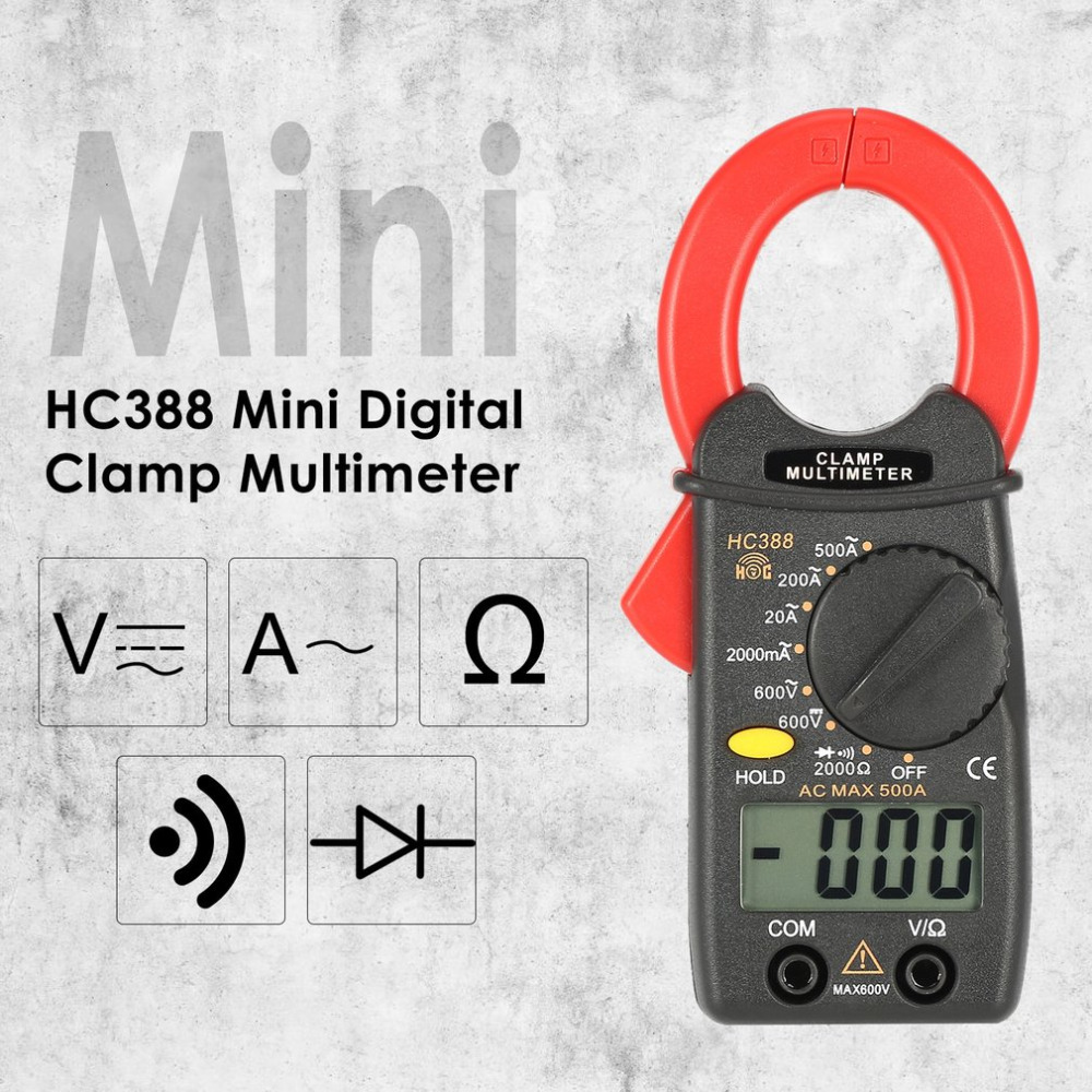 HC388 Mini Digital Clamp Meter Multimeter AC/DC Voltage Current Ohm Diode Tester 1999 Counts Data Hold Handheld mastech mas830l mini digital multimeter handheld lcd display dc current tester backlight data hold continuity diode hfe test