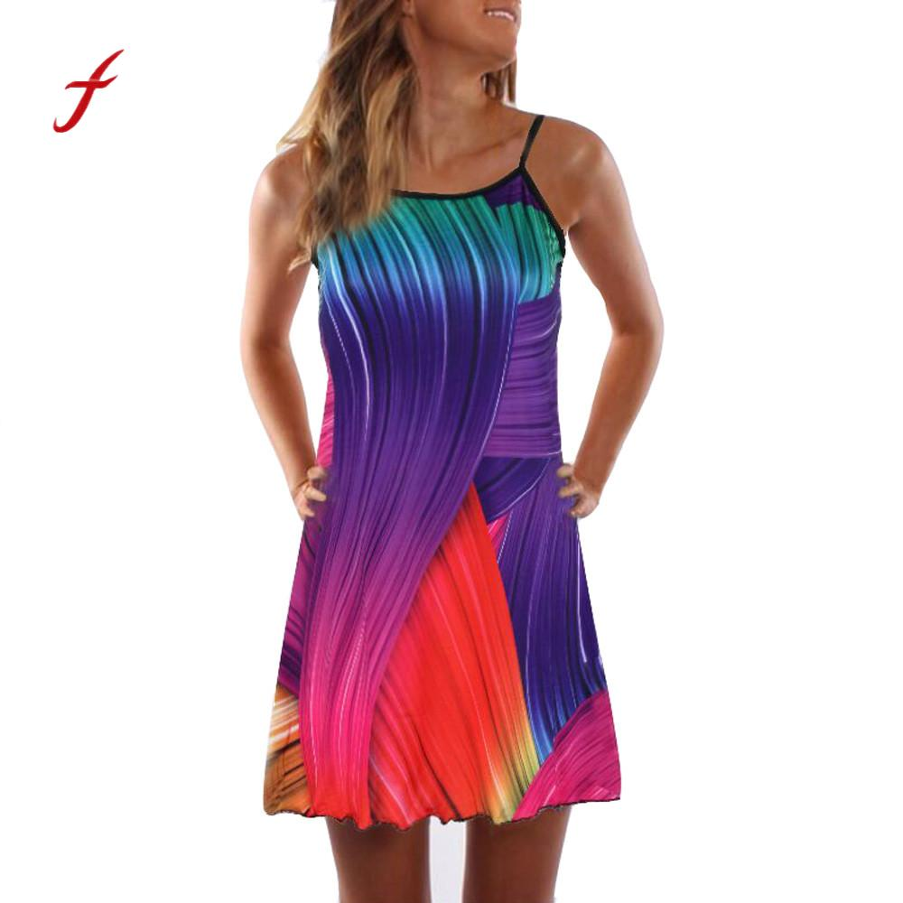 Sexy women dress summer vintage style women loose dress sleeveless 3d floral print boho short mini dress vestidos /py
