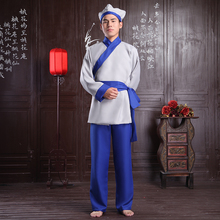 Free shipping Male Costume clothes tang suit hanfu oriental costumes Chinese ancient costume Poor servant stage costumes