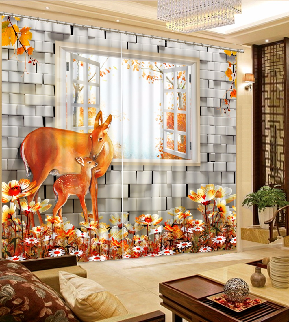 Modern Curtains For Living room Bedroom animal Kids Room Curtains Hooks Polyester/Cotton Blackout CurtainsModern Curtains For Living room Bedroom animal Kids Room Curtains Hooks Polyester/Cotton Blackout Curtains