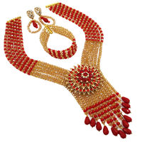 Hot New Bridal Jewelry Sets Opaque Red Gold Nigerian Wedding African Beads Jewelry Set Crystal Fashion Gift Necklace 6C SDLS 010