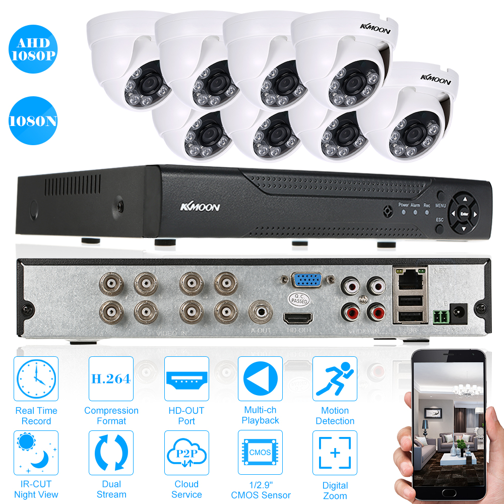 KKmoon 8CH 1080P 5-in-1 AHD DVR Video Recorder 8pcs 960P Indoor CCTV Camera Kit
