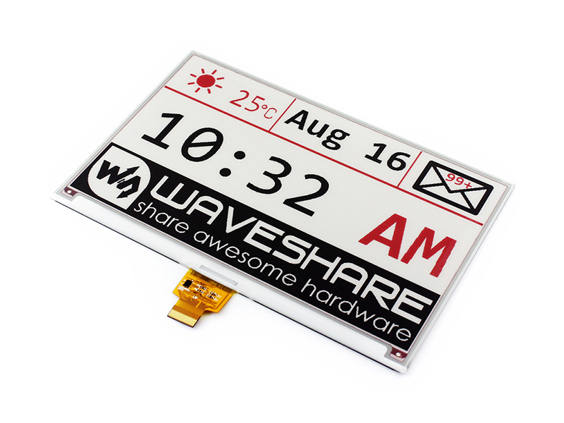 Waveshare 7 5inch e Paper B E ink raw Display Red Black White Three color SPI
