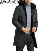 AYUNSUE зимняя куртка 90% утиный пуховик Мужская куртка с воротником из натурального меха енота Толстая длинная парка модная мужская одежда