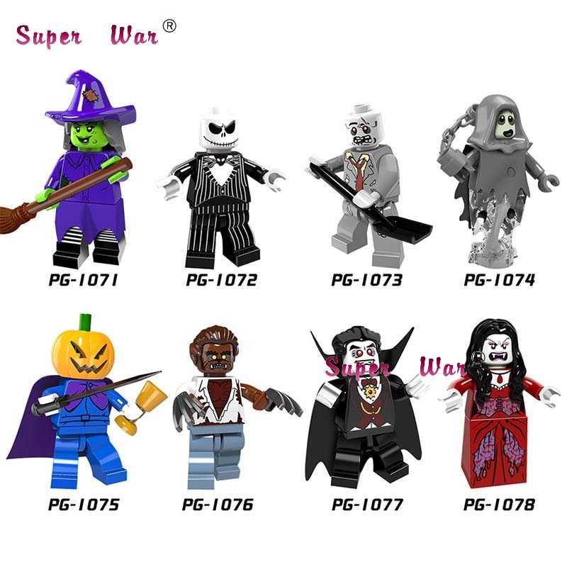 Solo Halloween keleton Jack bruja Zombie fantasmas calabaza Hombre Lobo vampiro cuento reina bloques de construcción juguetes para niños