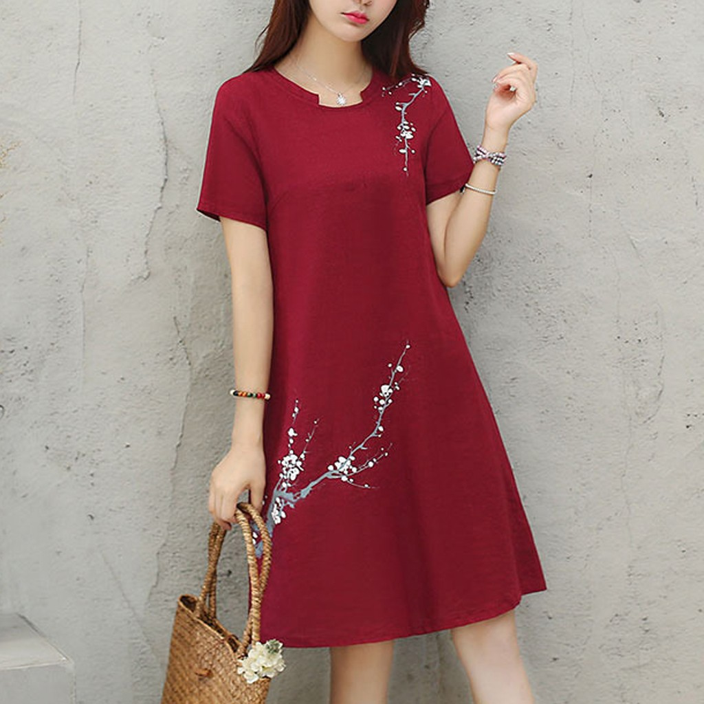 Dress Women Dress Women Vestidos De Verano Fashion Polyester 2019A-line Summer Short Sleeve O-Neck Knee Length Printing Dress Z4