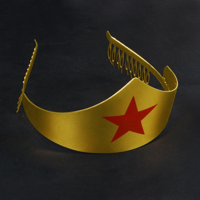 Gold Wonder Woman Tiara Crown Metal Headwear Crown Hairpin WONDER WOMAN Costume Halloween Adult Womens Cosplay Props