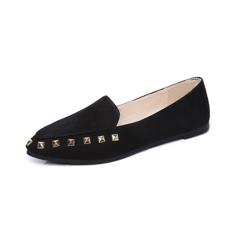 Women Flats 2016 Summer Style Casual Solid Pointed Toe Rivets Slip-On Flat Shoes Soft Comfortable Nubuck Leather Plus Size 35-40 spring summer women flat ol party shoes pointed toe slip on flats ladies loafer shoes comfortable single casual flats size 34 41