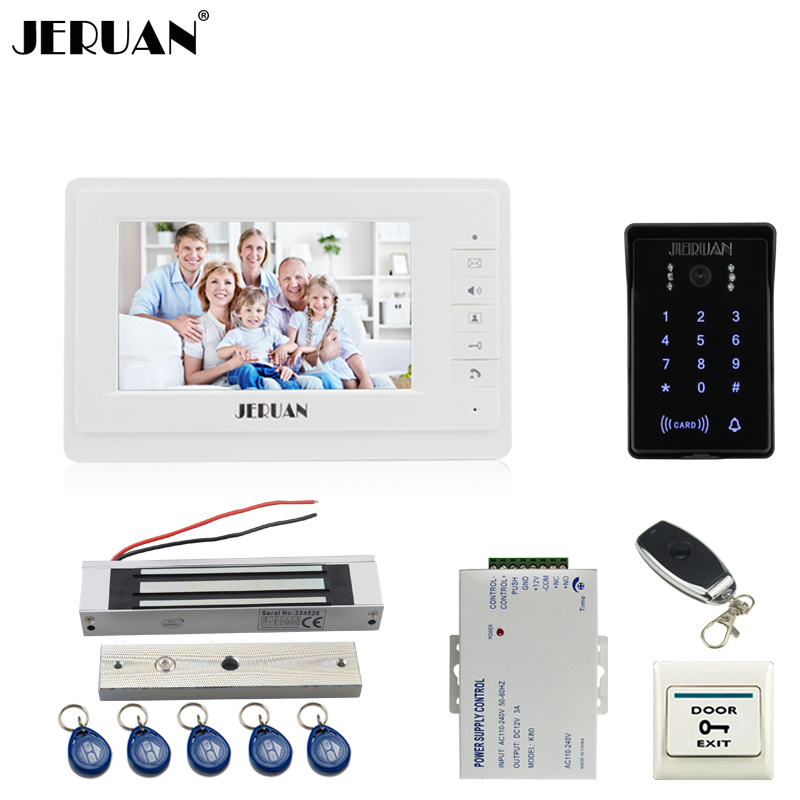 JERUAN 7`` video doorphone intercom system Kit brang New RFID waterproof Touch Key password keypad Camera remote control lock jeruan 8 inch tft video door phone record intercom system new rfid waterproof touch key password keypad camera 8g sd card e lock
