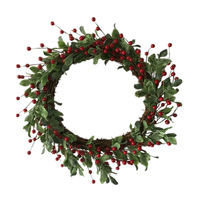 1pc/lot 2018 New Design Artificial Foam Red Berries Christmas Wreaths with Simulation Green Leaves Free Shipping
