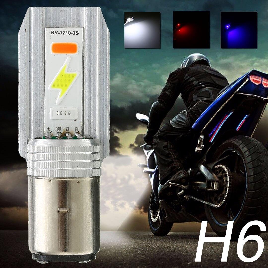 1pc BA20D H6 LED Motorcycle Headlight Bulbs Hi/Lo Beam Front Light Bulb 3 Colors Moto Accessories