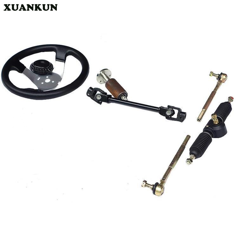 XUANKUN  Modified Four-Wheel Electric Motorcycle Accessories Kart 32CM Direction Steering Wheel Steering Knuckle Rod Assembly xuankun zoomer motorcycle electric car accessories modified foot pedal plastic case shell