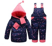 Newly 2017 Children Down Clothing Set Kids Baby Girl Boy Suit Dotted Overalls Warm Snow Sets