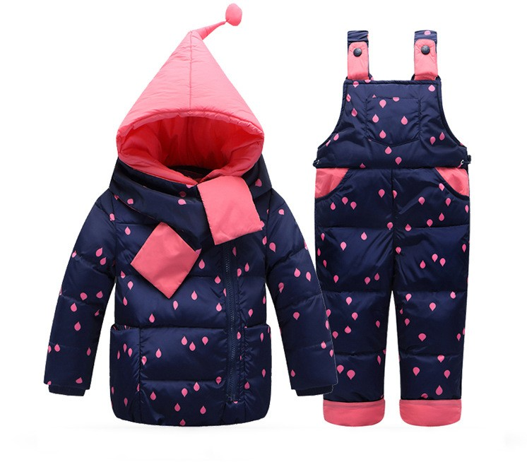 2018 children Kids Baby Girl dotted Down Overalls hooded coat Jackets+bib Pants toddler Snow ski sets suit Clothing for 3 4 girl