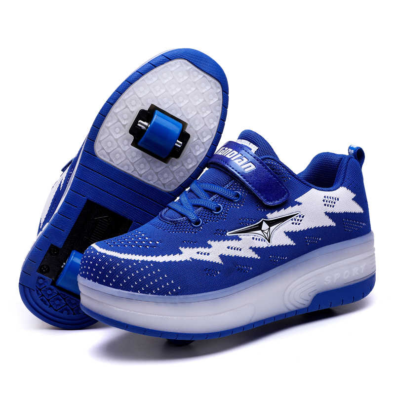 Heelys USB Charging LED Light Sneakers Two Wheels Boys Girls Roller Skate Casual Shoe with Roller Kids Girl Sport Shoes Blue