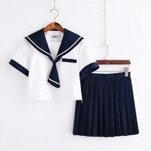 Azul marino de manga corta verano Lolita JK uniformes rendimiento japonés  uniforme Niña de la escuela parte superior gris + verd. a2b61b636709