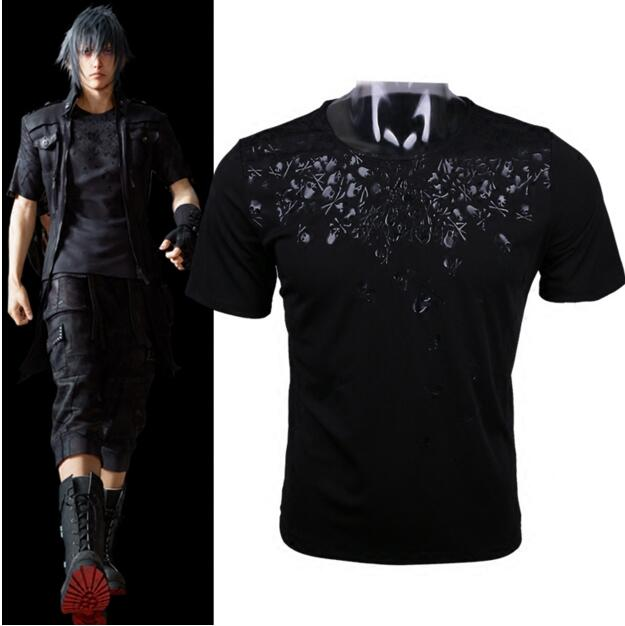 New 2018 Final Fantasy XV FF15 FFXV Noctis Lucis Caelum Mens Cosplay Skull Short Sleeve Cotton O-Neck T-shirts Tee Shirts