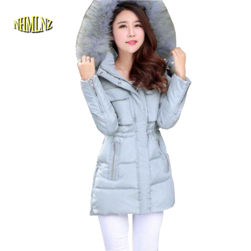 2017Korean style New Women Winter Coat Hooded Fur Collar Big yards Leisure Women Coat High Quality Cotton warm Down Jacket G2271