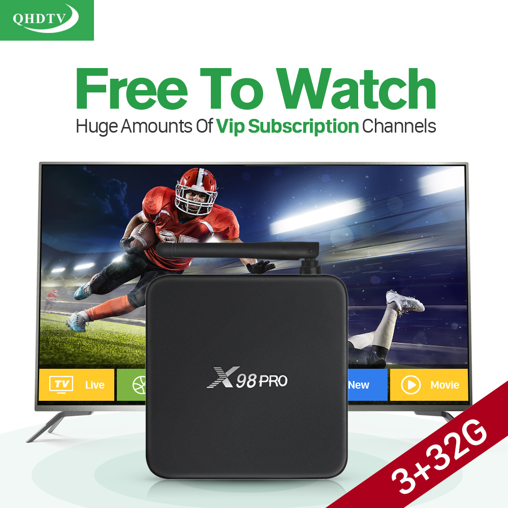 X98 Pro Android TV Box S912 3G+32G Media Player with 1 Year QHDTV Iptv 1300+ HD Arabic French UK Turkish Netherland Spain IPTV